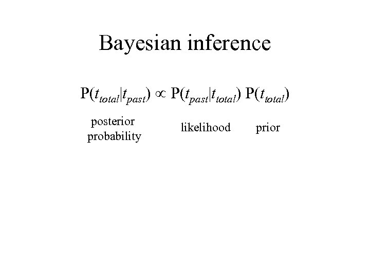 Bayesian inference P(ttotal|tpast) P(tpast|ttotal) P(ttotal) posterior probability likelihood prior