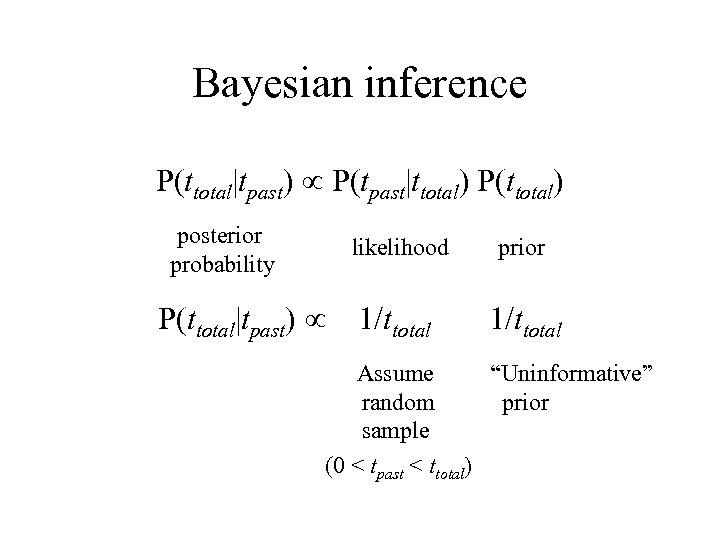 "Bayesian inference P(ttotal|tpast) P(tpast|ttotal) P(ttotal) posterior probability likelihood P(ttotal|tpast) prior 1/ttotal Assume ""Uninformative"" random"