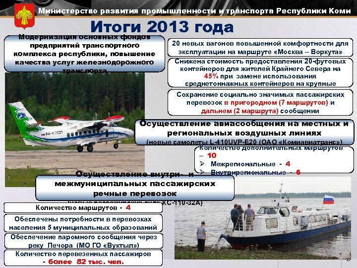 Министерство развития промышленности и транспорта Республики Коми Итоги 2013 года Модернизация основных фондов предприятий
