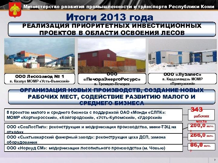 Министерство развития промышленности и транспорта Республики Коми Итоги 2013 года РЕАЛИЗАЦИЯ ПРИОРИТЕТНЫХ ИНВЕСТИЦИОННЫХ ПРОЕКТОВ