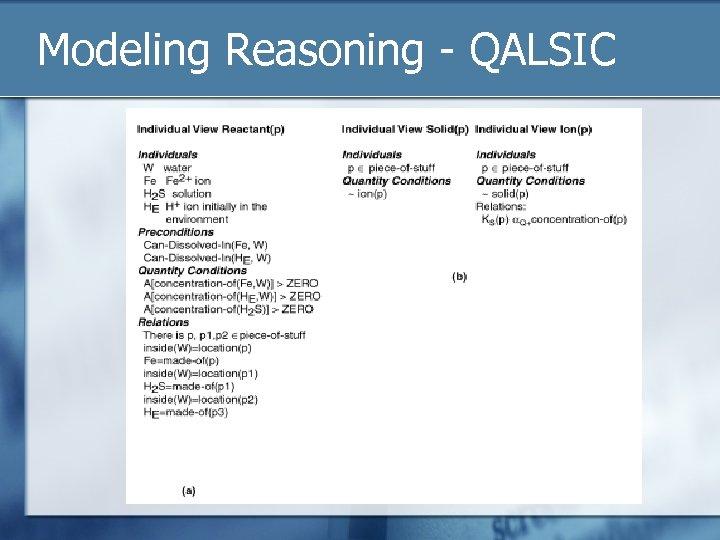 Modeling Reasoning - QALSIC