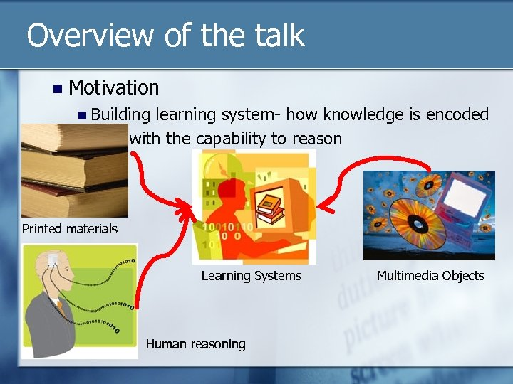 Overview of the talk n Motivation n Building learning system- how knowledge is encoded