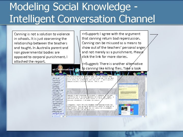 Modeling Social Knowledge - Intelligent Conversation Channel Canning is not a solution to violence