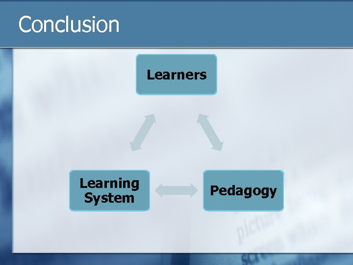 Conclusion Learners Learning System Pedagogy