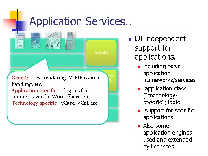 Application Services. . n UI independent support for applications, n Generic - text rendering,