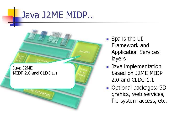 Java J 2 ME MIDP. . n Java J 2 ME MIDP 2. 0