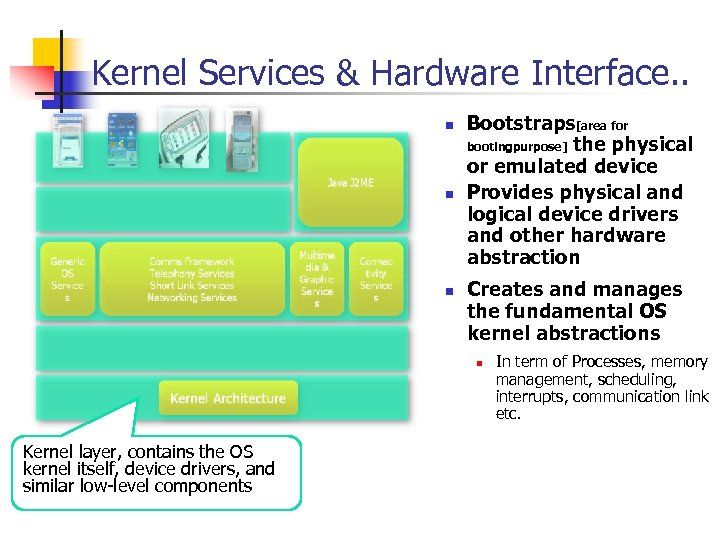 Kernel Services & Hardware Interface. . n n n Bootstraps[area for bootingpurpose] the physical