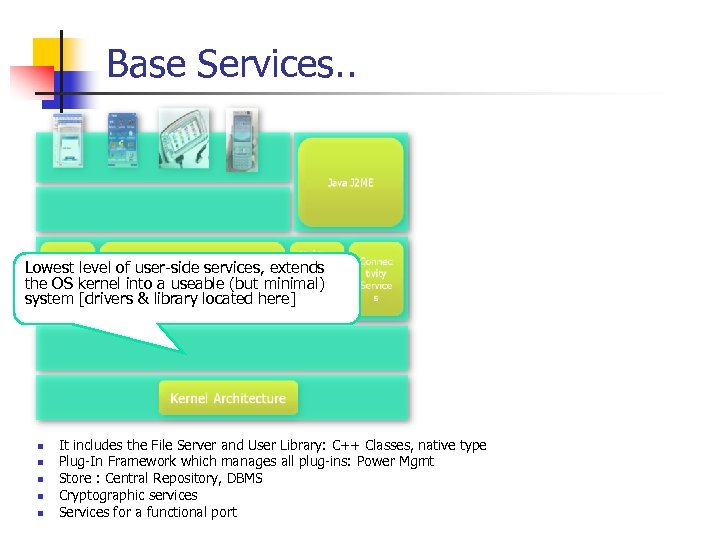 Base Services. . Lowest level of user-side services, extends the OS kernel into a