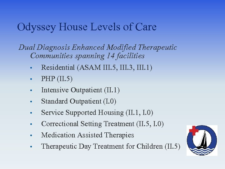 Odyssey House Levels of Care Dual Diagnosis Enhanced Modified Therapeutic Communities spanning 14 facilities