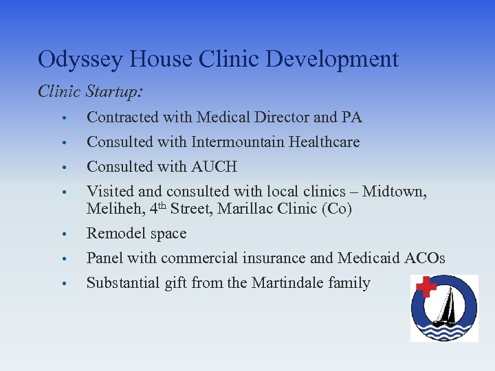 Odyssey House Clinic Development Clinic Startup: • • Contracted with Medical Director and PA