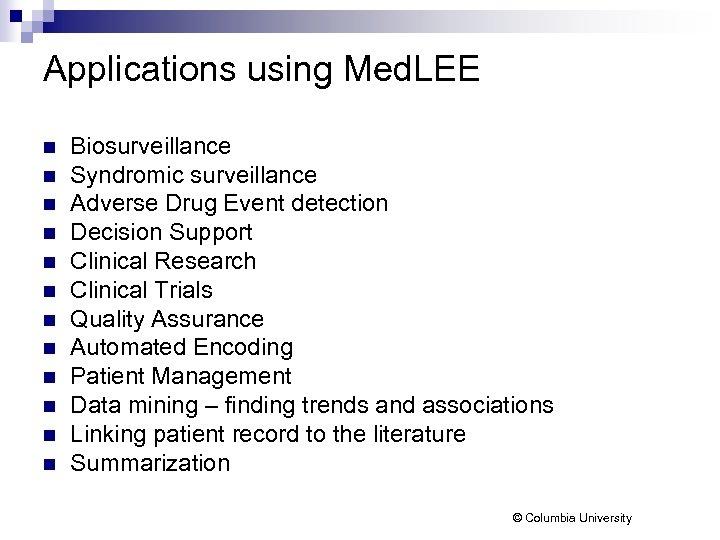 Applications using Med. LEE n n n Biosurveillance Syndromic surveillance Adverse Drug Event detection