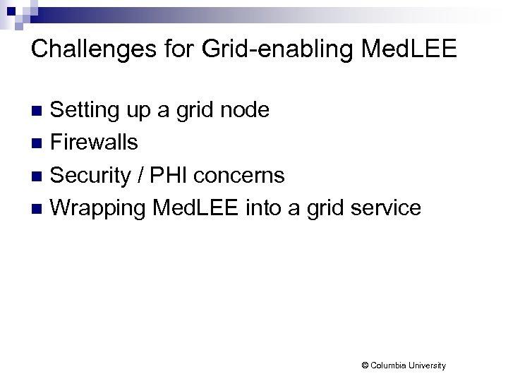 Challenges for Grid-enabling Med. LEE Setting up a grid node n Firewalls n Security