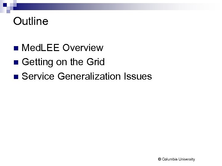 Outline Med. LEE Overview n Getting on the Grid n Service Generalization Issues n