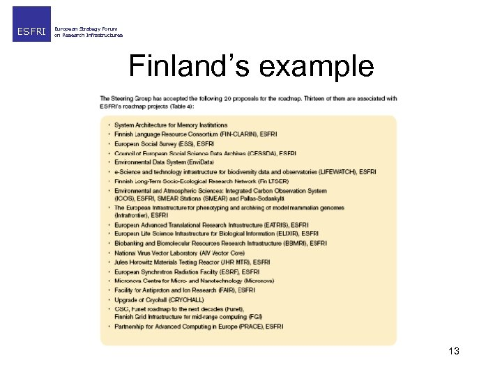 ESFRI European Strategy Forum on Research Infrastructures Finland's example 13