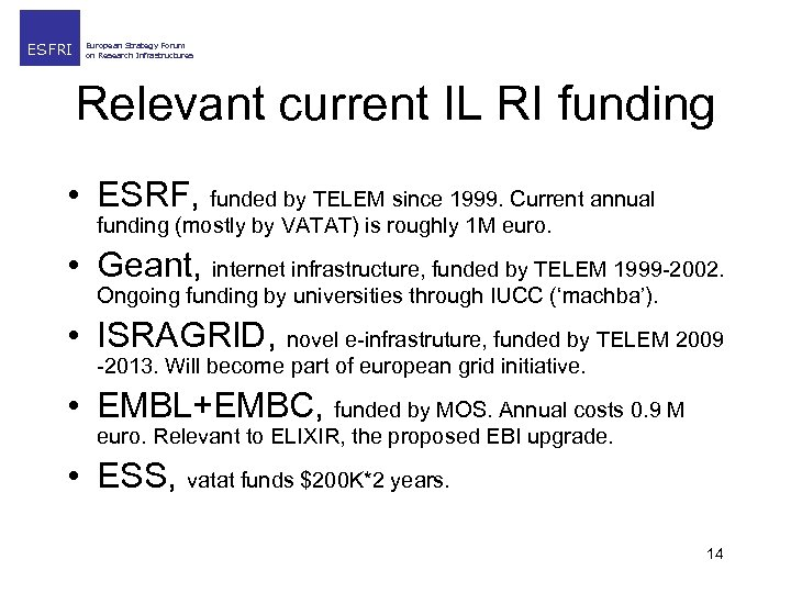 ESFRI European Strategy Forum on Research Infrastructures Relevant current IL RI funding • ESRF,