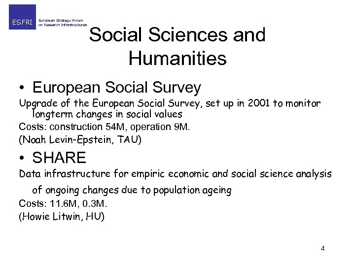 ESFRI European Strategy Forum on Research Infrastructures Social Sciences and Humanities • European Social