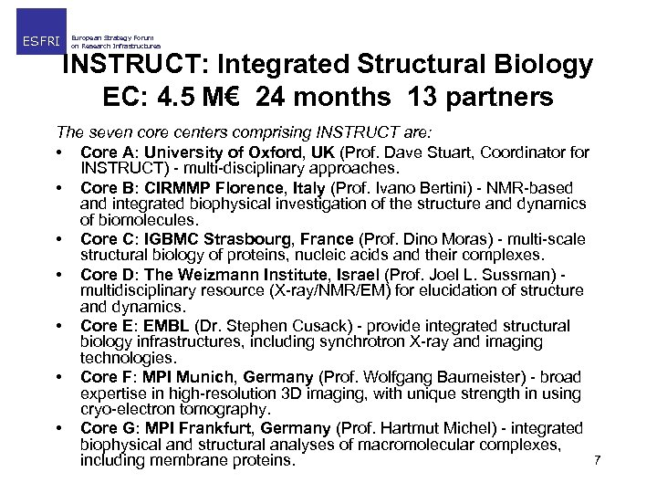 ESFRI European Strategy Forum on Research Infrastructures INSTRUCT: Integrated Structural Biology EC: 4. 5