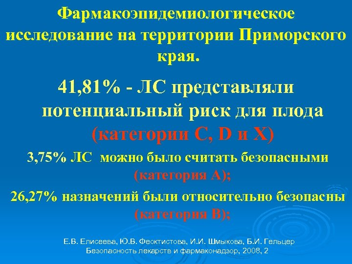Фармакоэпидемиологическое исследование на территории Приморского края. 41, 81% - ЛС представляли потенциальный риск для
