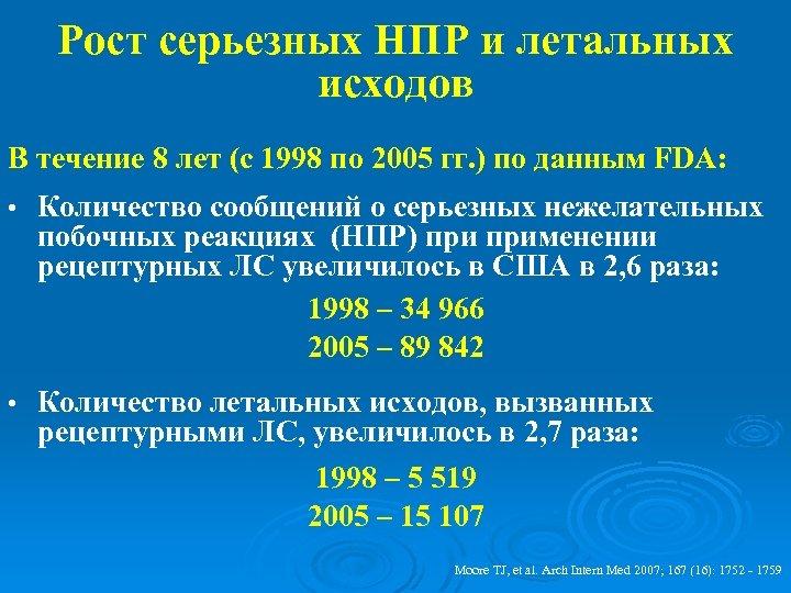 Рост серьезных НПР и летальных исходов В течение 8 лет (с 1998 по 2005