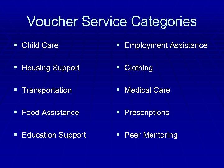 Voucher Service Categories § Child Care § Employment Assistance § Housing Support § Clothing