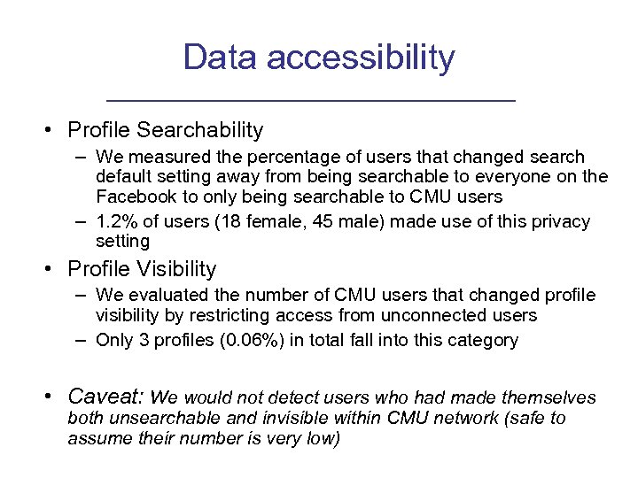 Data accessibility • Profile Searchability – We measured the percentage of users that changed
