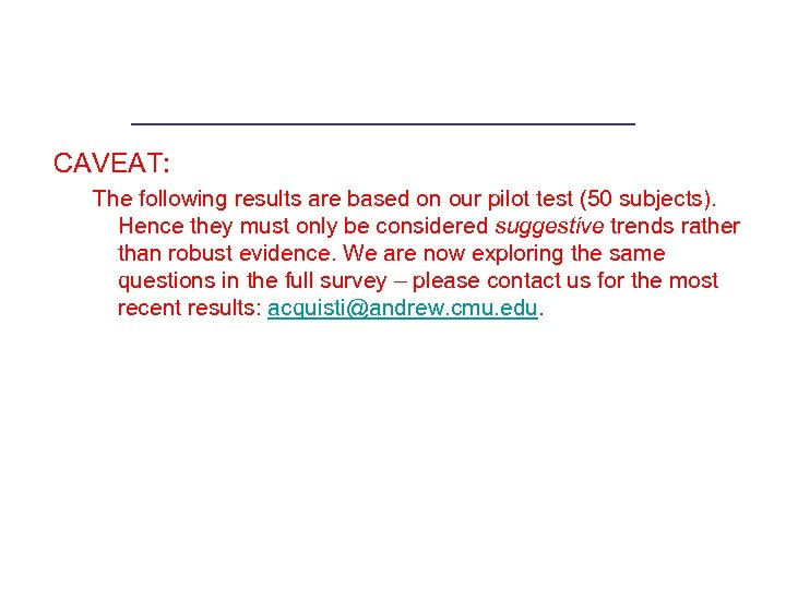 CAVEAT: The following results are based on our pilot test (50 subjects). Hence they