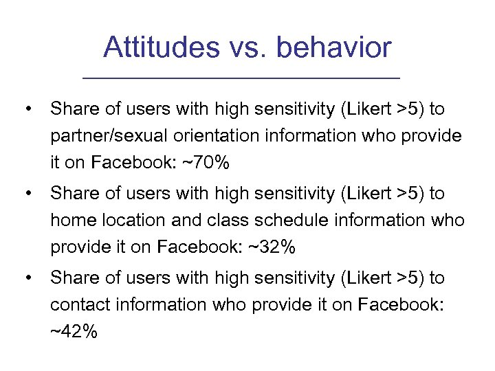 Attitudes vs. behavior • Share of users with high sensitivity (Likert >5) to partner/sexual