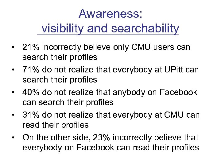 Awareness: visibility and searchability • 21% incorrectly believe only CMU users can search their
