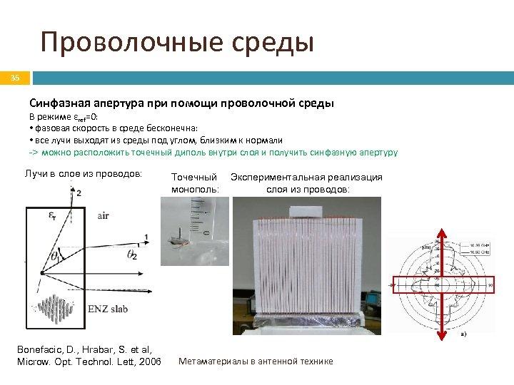 Проволочные среды 35 Синфазная апертура при помощи проволочной среды В режиме εref=0: • фазовая