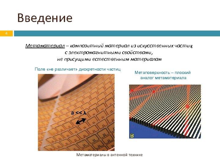 Введение 4 Метаматериал – композитный материал из искусственных частиц с электромагнитными свойствами, не присущими