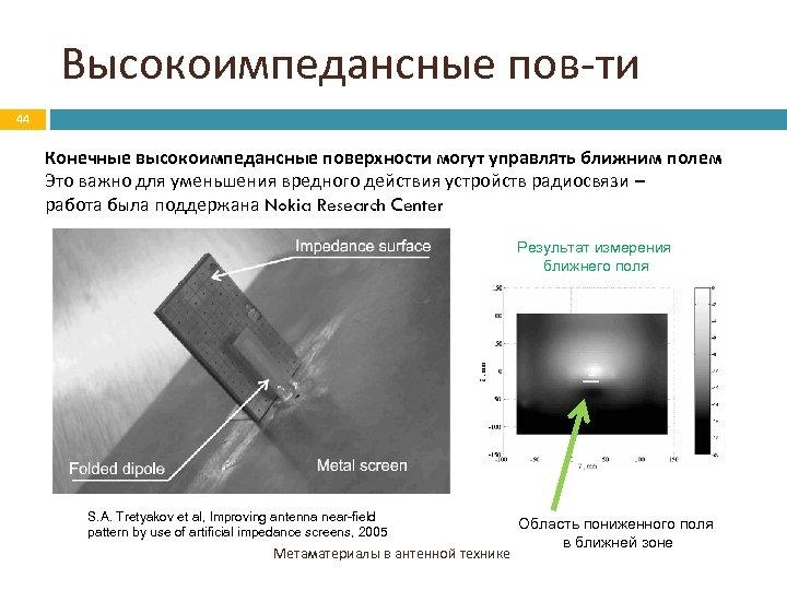 Высокоимпедансные пов-ти 44 Конечные высокоимпедансные поверхности могут управлять ближним полем Это важно для уменьшения