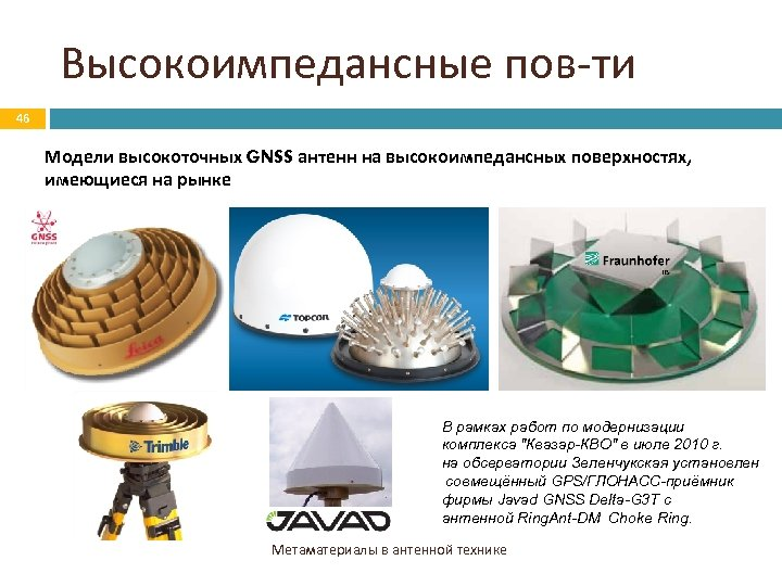 Высокоимпедансные пов-ти 46 Модели высокоточных GNSS антенн на высокоимпедансных поверхностях, имеющиеся на рынке В
