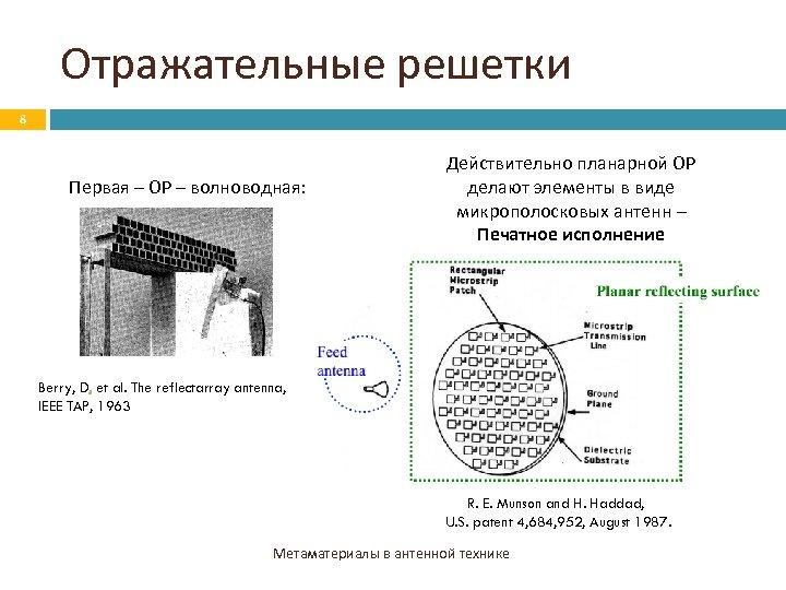 Отражательные решетки 8 Первая – ОР – волноводная: Действительно планарной ОР делают элементы в