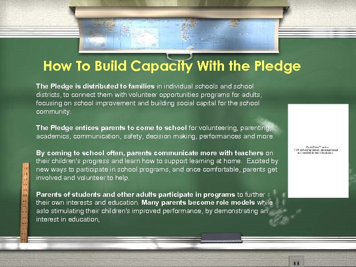 How To Build Capacity With the Pledge The Pledge is distributed to families in