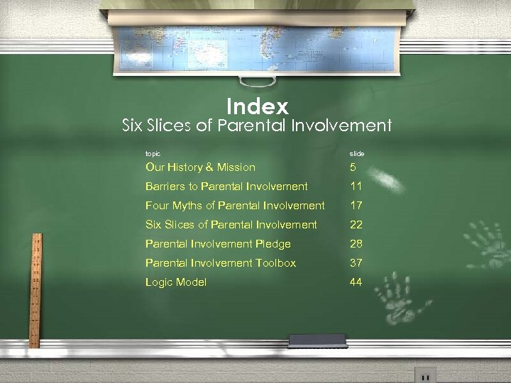 Index Six Slices of Parental Involvement topic slide Our History & Mission 5 Barriers