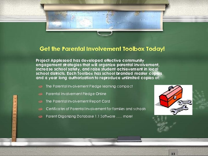 Get the Parental Involvement Toolbox Today! Project Appleseed has developed effective community engagement strategies