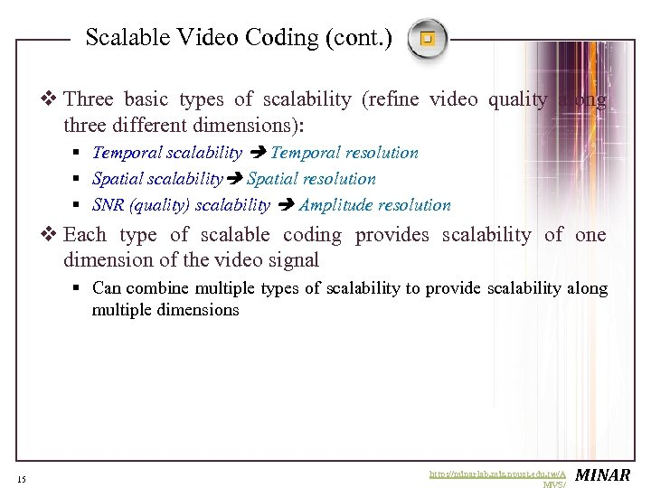 Scalable Video Coding (cont. ) v Three basic types of scalability (refine video quality