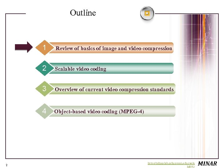 Outline 1 2 Scalable video coding 3 Overview of current video compression standards 4