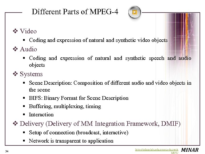 Different Parts of MPEG-4 v Video § Coding and expression of natural and synthetic