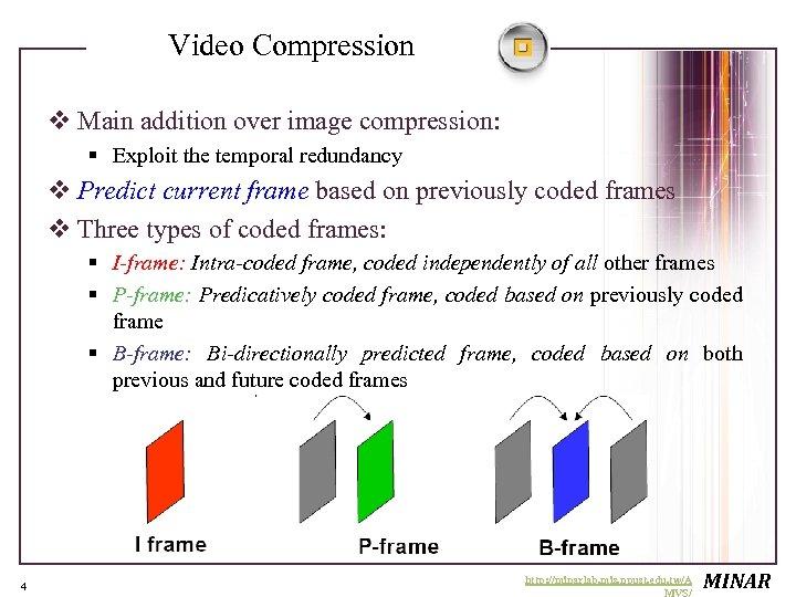 Video Compression v Main addition over image compression: § Exploit the temporal redundancy v