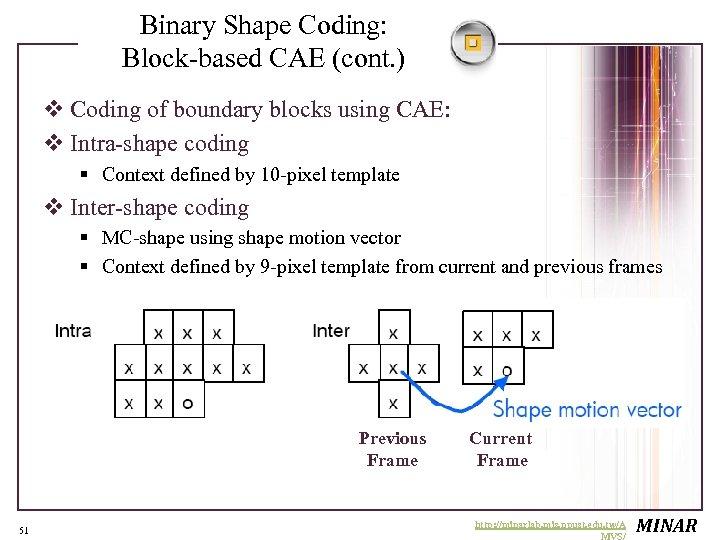 Binary Shape Coding: Block-based CAE (cont. ) v Coding of boundary blocks using CAE: