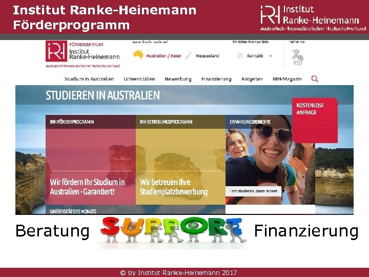 Institut Ranke-Heinemann Förderprogramm Beratung Finanzierung © by Institut Ranke-Heinemann 2017
