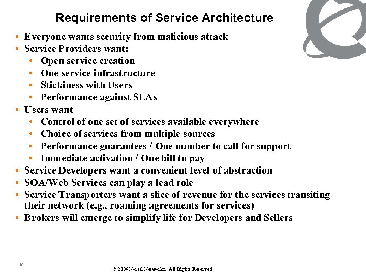 Requirements of Service Architecture • Everyone wants security from malicious attack • Service Providers