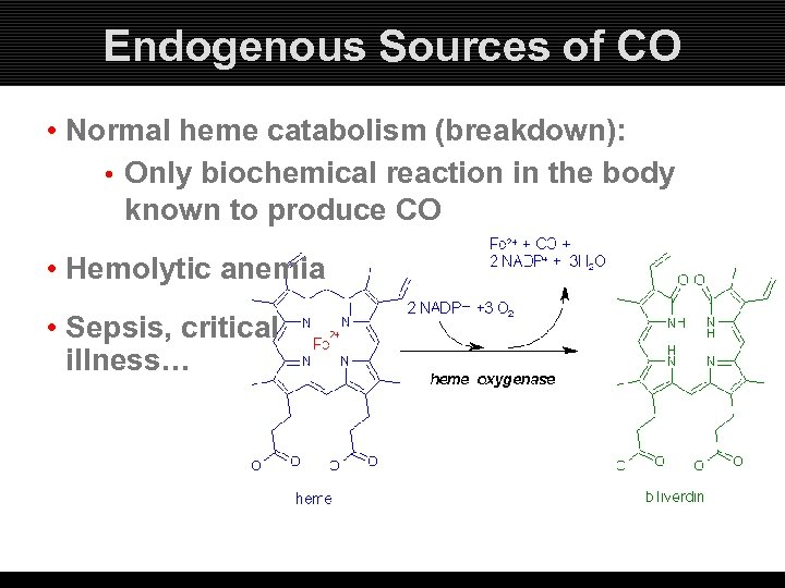 Endogenous Sources of CO • Normal heme catabolism (breakdown): • Only biochemical reaction in