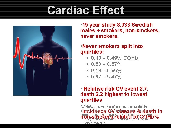 Cardiac Effect • 19 year study 8, 333 Swedish males ÷ smokers, non-smokers, never