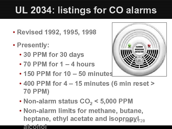 UL 2034: listings for CO alarms • Revised 1992, 1995, 1998 • Presently: •