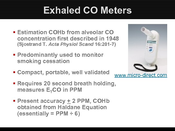 Exhaled CO Meters § Estimation COHb from alveolar CO concentration first described in 1948