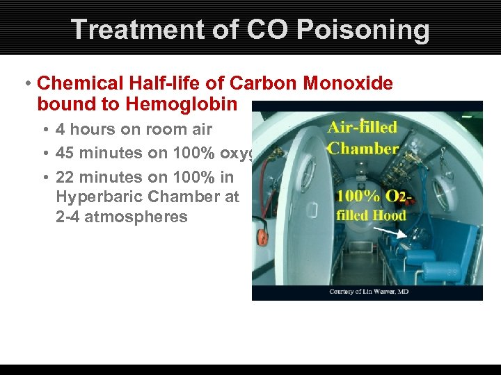 Treatment of CO Poisoning • Chemical Half-life of Carbon Monoxide bound to Hemoglobin •