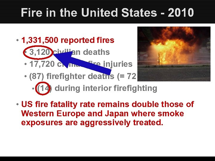 Fire in the United States - 2010 • 1, 331, 500 reported fires •