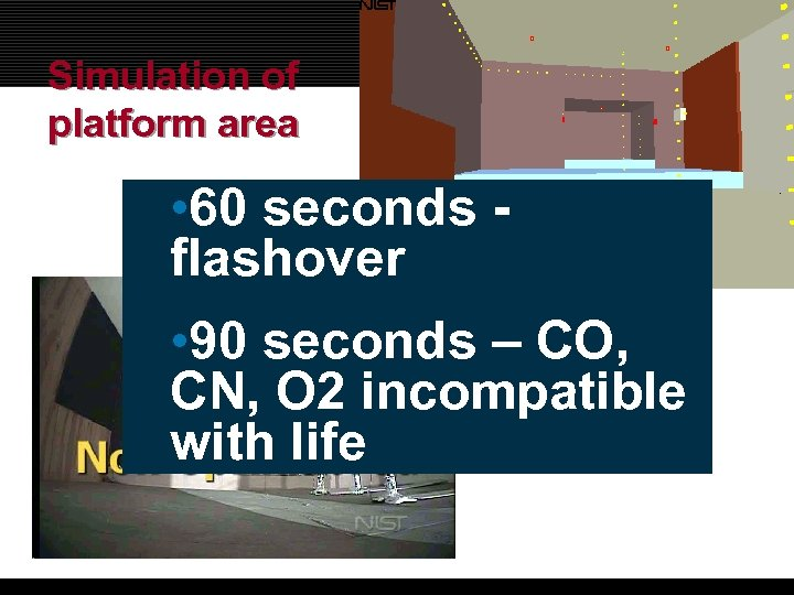 Simulation of platform area • 60 seconds flashover • 90 seconds – CO, CN,